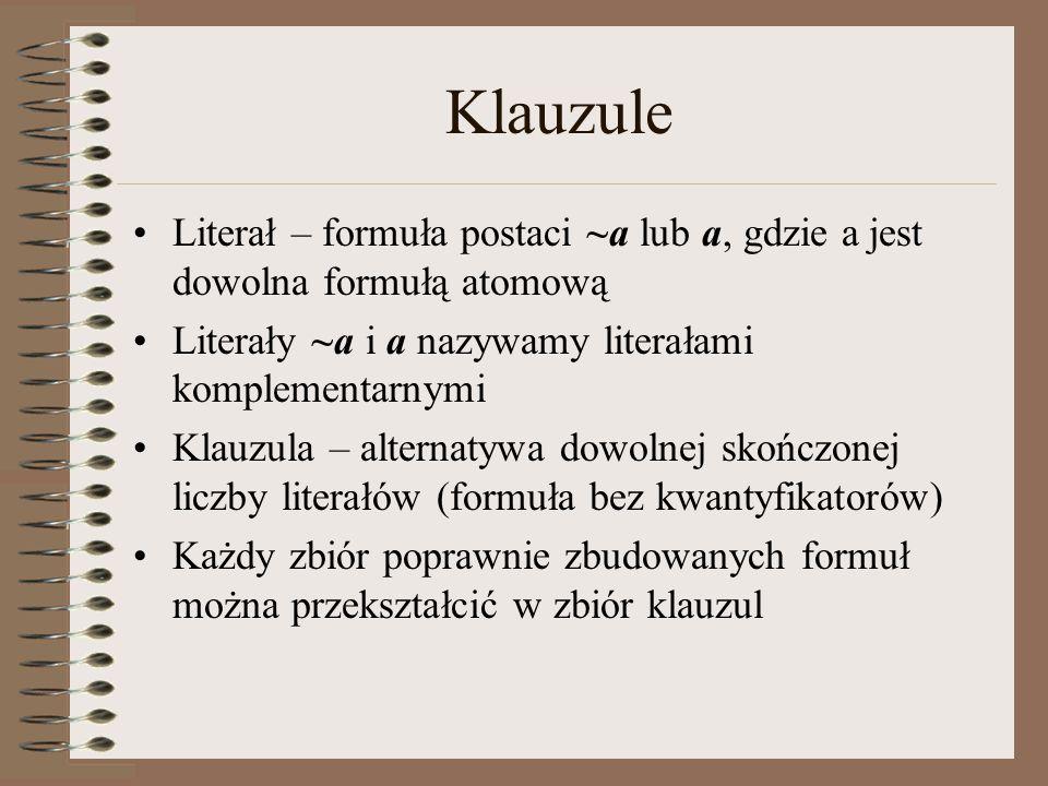 Klauzule Literał – formuła postaci ~a lub a, gdzie a jest dowolna formułą atomową. Literały ~a i a nazywamy literałami komplementarnymi.