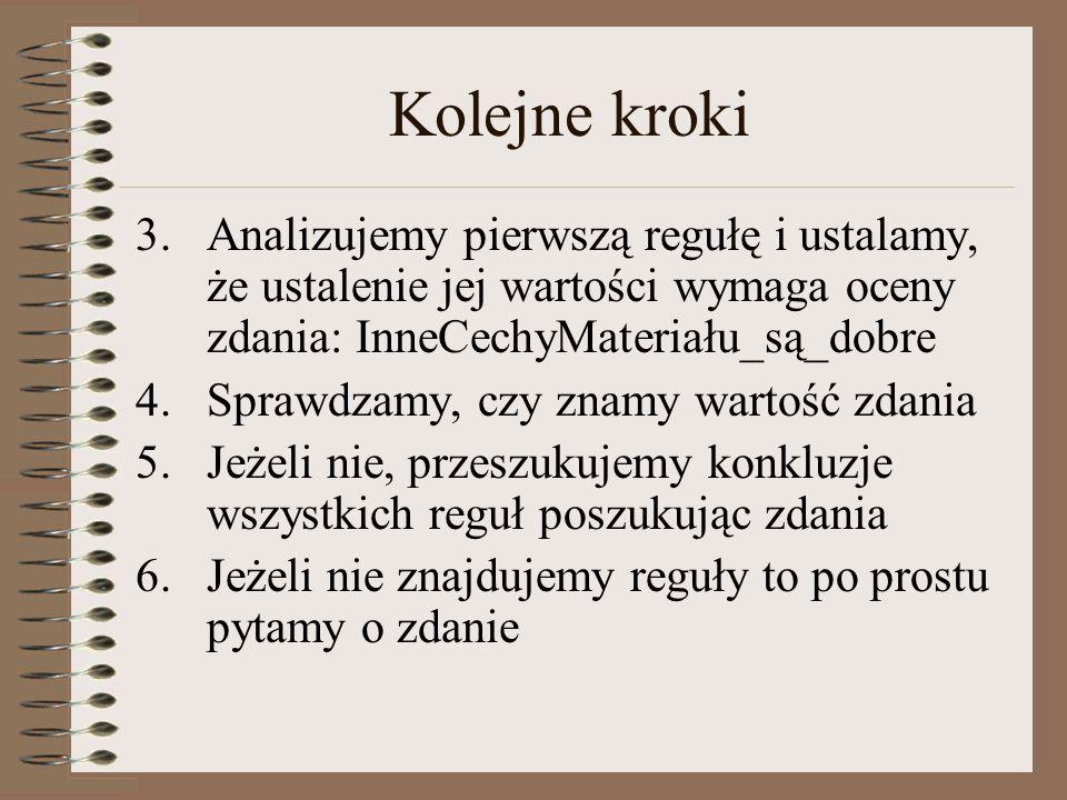 Kolejne kroki Analizujemy pierwszą regułę i ustalamy, że ustalenie jej wartości wymaga oceny zdania: InneCechyMateriału_są_dobre.