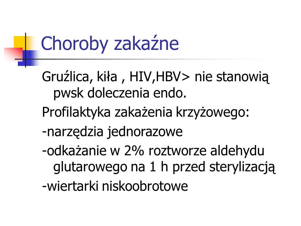Choroby zakaźne Gruźlica, kiła , HIV,HBV> nie stanowią pwsk doleczenia endo. Profilaktyka zakażenia krzyżowego: