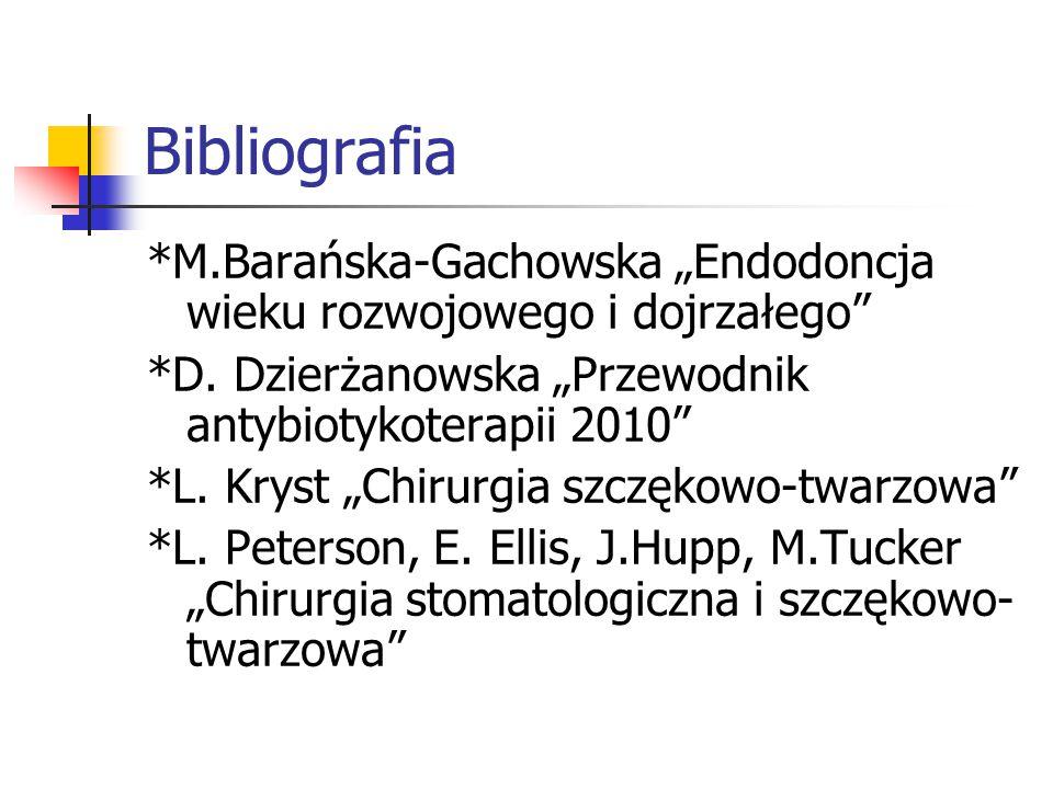 """Bibliografia *M.Barańska-Gachowska """"Endodoncja wieku rozwojowego i dojrzałego *D. Dzierżanowska """"Przewodnik antybiotykoterapii 2010"""