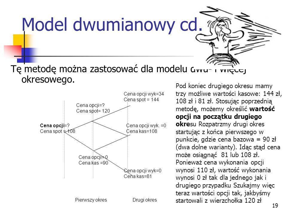 Model dwumianowy cd. Tę metodę można zastosować dla modelu dwu- i więcej okresowego. Pierwszy okres Drugi okres.