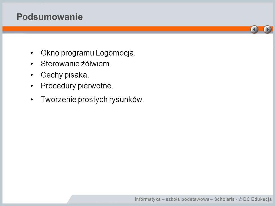 Podsumowanie Okno programu Logomocja. Sterowanie żółwiem.