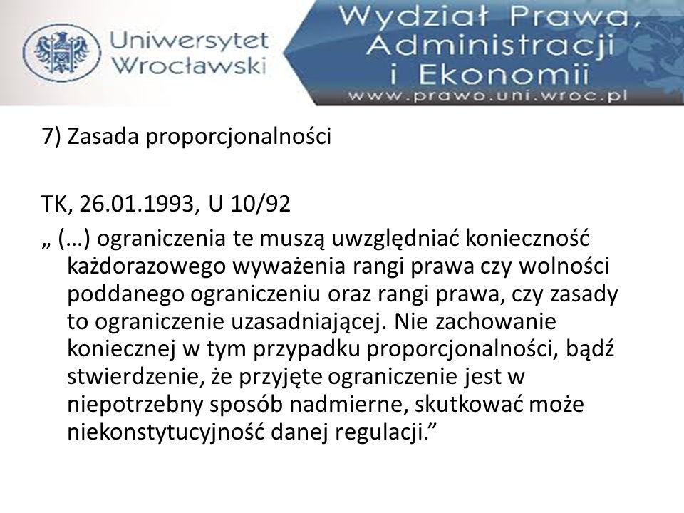 7) Zasada proporcjonalności TK, 26. 01