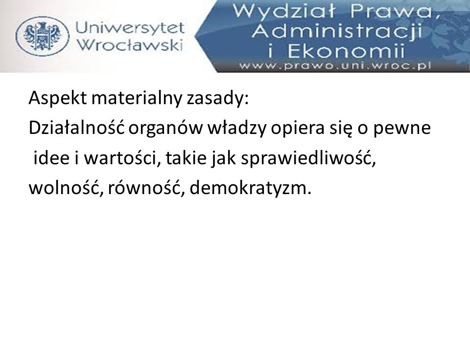 Aspekt materialny zasady:
