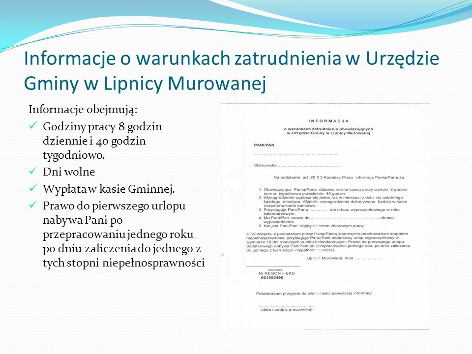 Informacje o warunkach zatrudnienia w Urzędzie Gminy w Lipnicy Murowanej