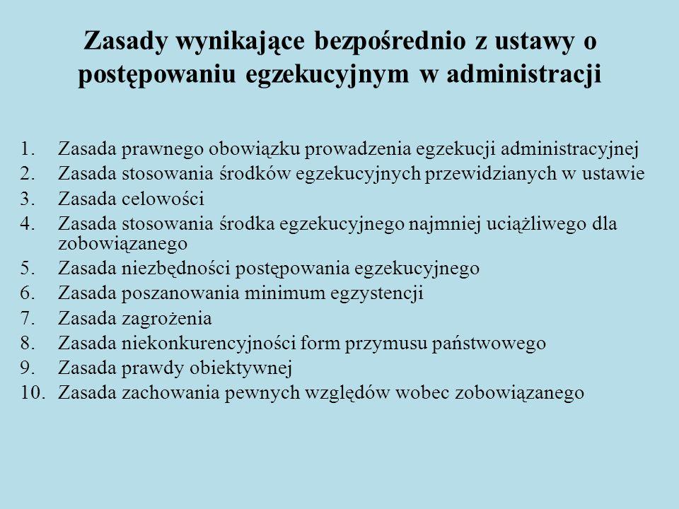 Zasady wynikające bezpośrednio z ustawy o postępowaniu egzekucyjnym w administracji