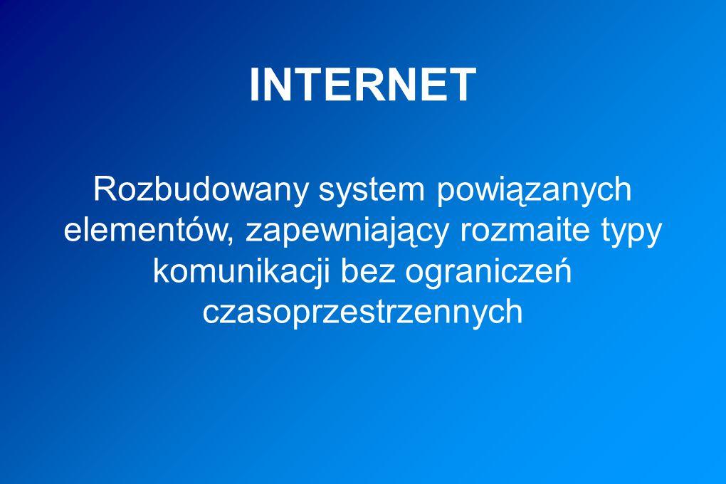 INTERNET Rozbudowany system powiązanych elementów, zapewniający rozmaite typy komunikacji bez ograniczeń czasoprzestrzennych.