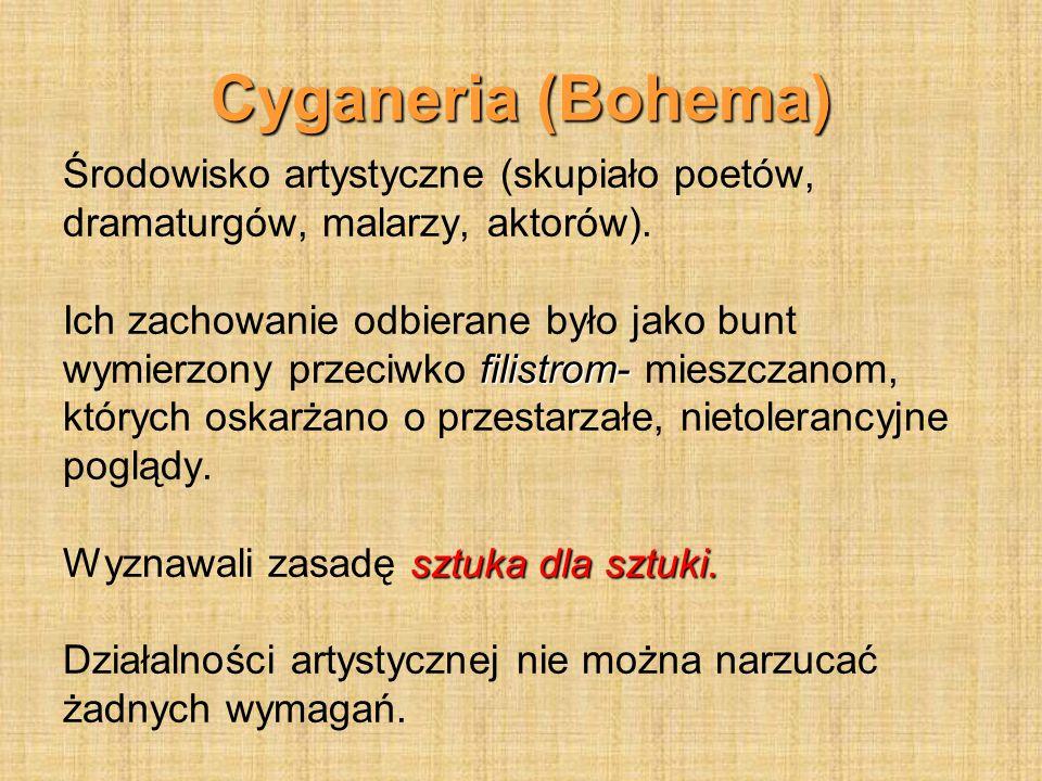 Cyganeria (Bohema) Środowisko artystyczne (skupiało poetów,