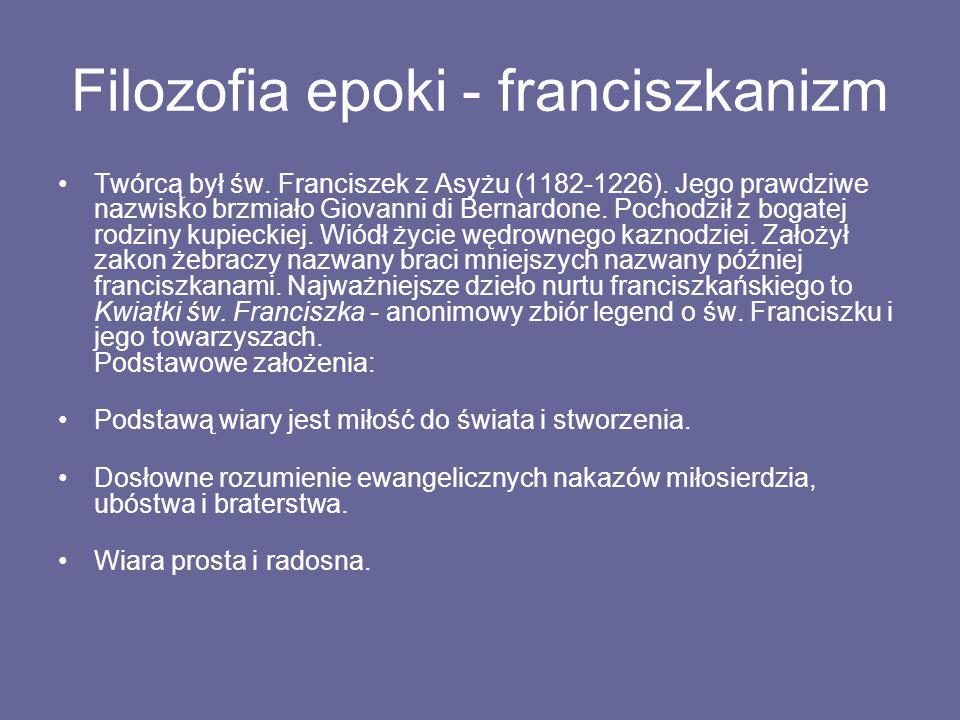 Filozofia epoki - franciszkanizm