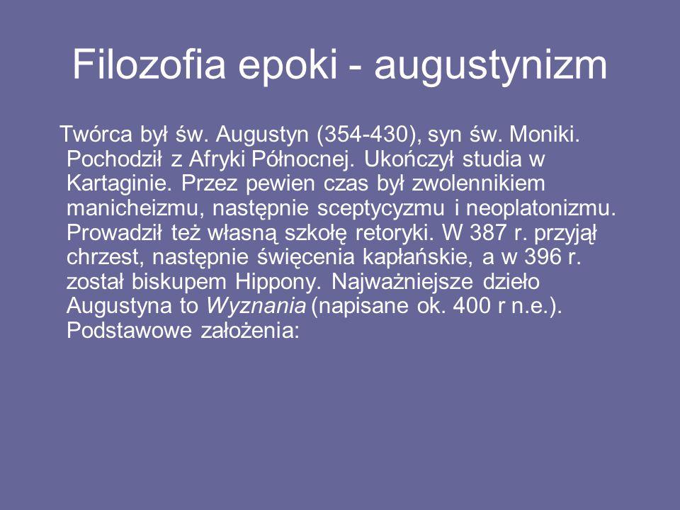Filozofia epoki - augustynizm