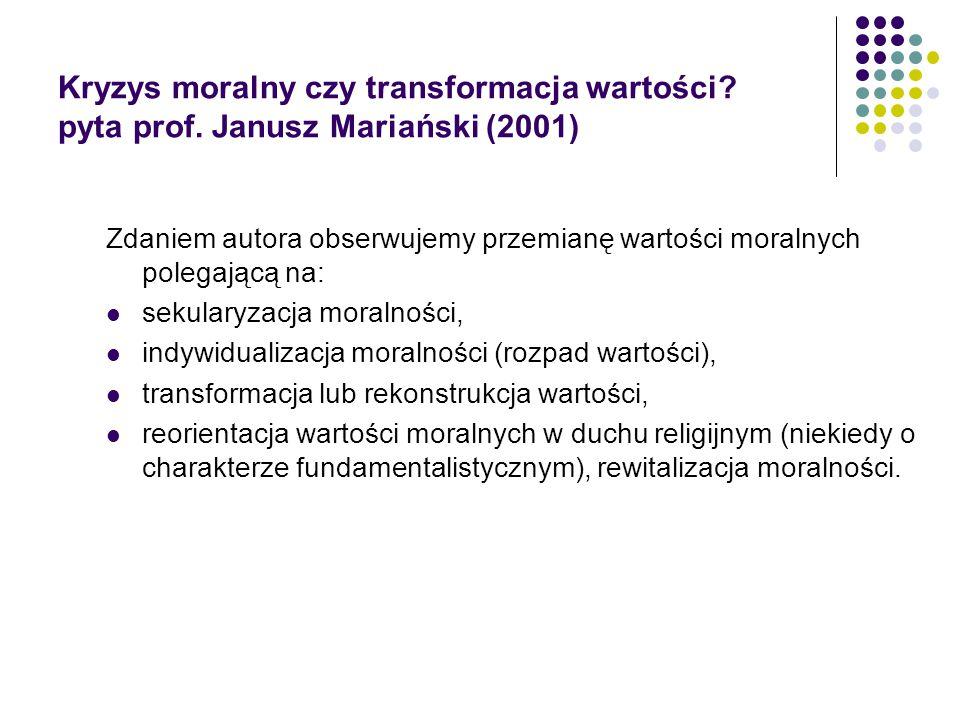 Kryzys moralny czy transformacja wartości. pyta prof