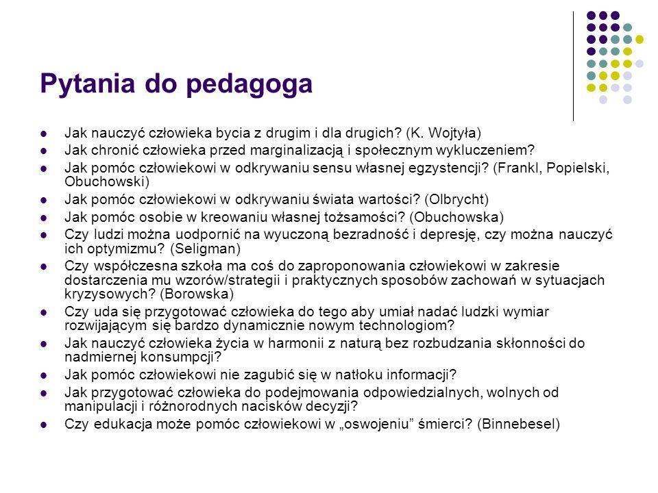 Pytania do pedagoga Jak nauczyć człowieka bycia z drugim i dla drugich (K. Wojtyła)