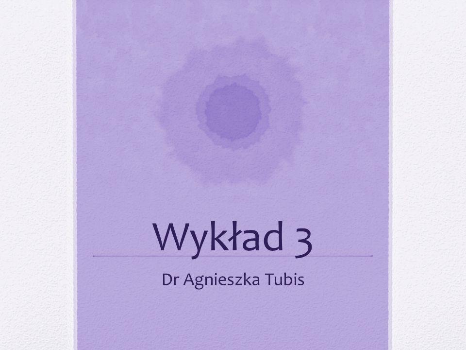 Wykład 3 Dr Agnieszka Tubis