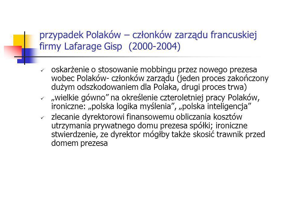 przypadek Polaków – członków zarządu francuskiej firmy Lafarage Gisp (2000-2004)