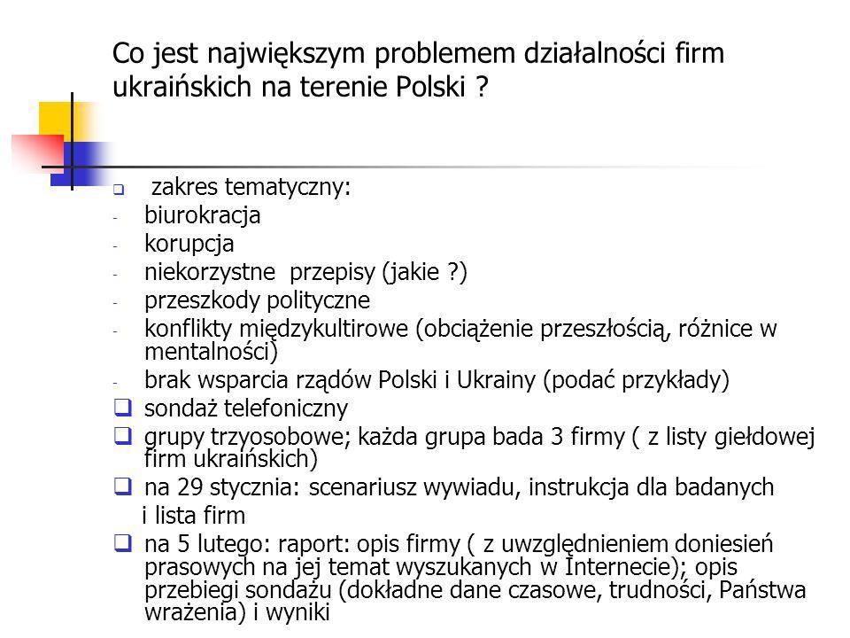 Co jest największym problemem działalności firm ukraińskich na terenie Polski