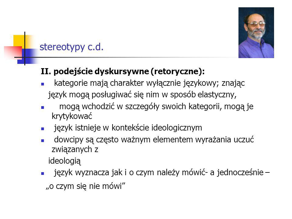 stereotypy c.d. II. podejście dyskursywne (retoryczne):