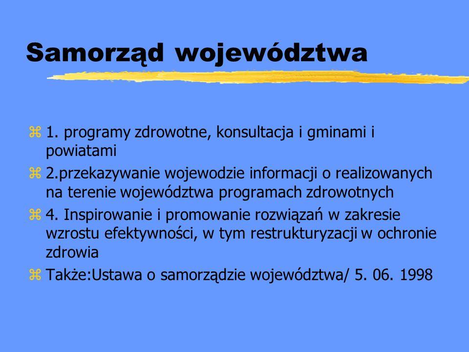 Samorząd województwa 1. programy zdrowotne, konsultacja i gminami i powiatami.