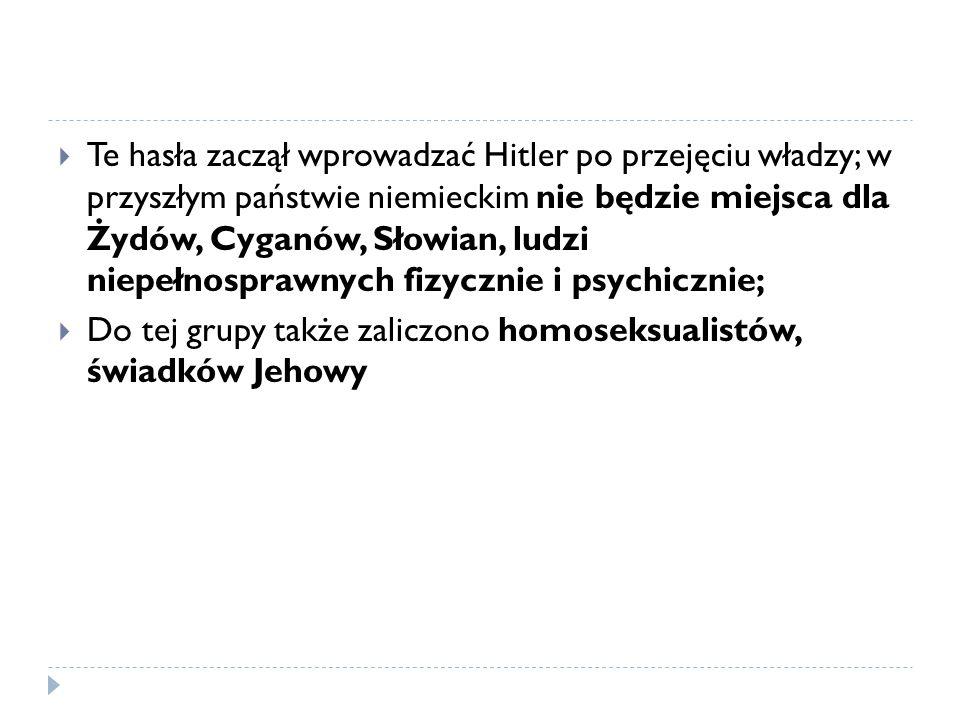 Te hasła zaczął wprowadzać Hitler po przejęciu władzy; w przyszłym państwie niemieckim nie będzie miejsca dla Żydów, Cyganów, Słowian, ludzi niepełnosprawnych fizycznie i psychicznie;