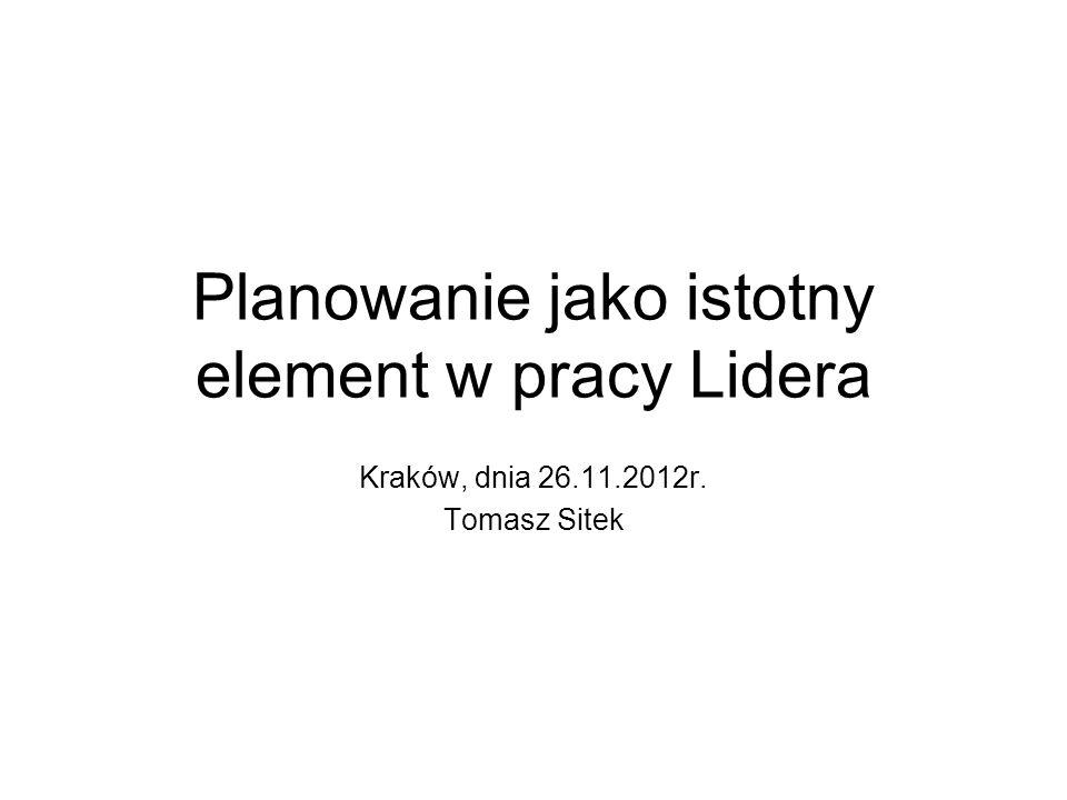 Planowanie jako istotny element w pracy Lidera