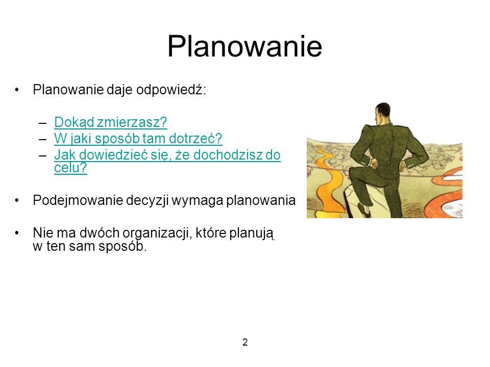 Planowanie Planowanie daje odpowiedź: Dokąd zmierzasz