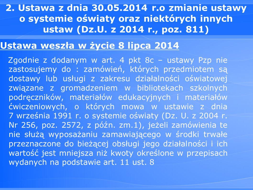 Ustawa weszła w życie 8 lipca 2014