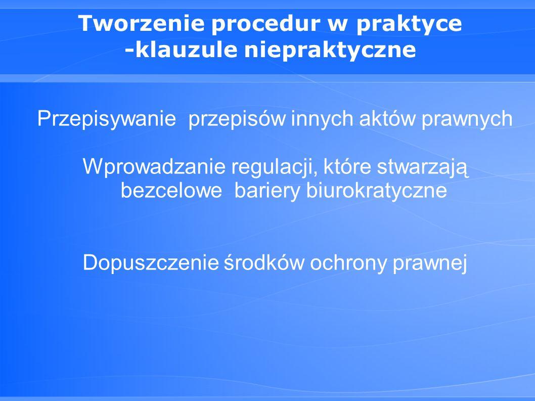 Tworzenie procedur w praktyce -klauzule niepraktyczne