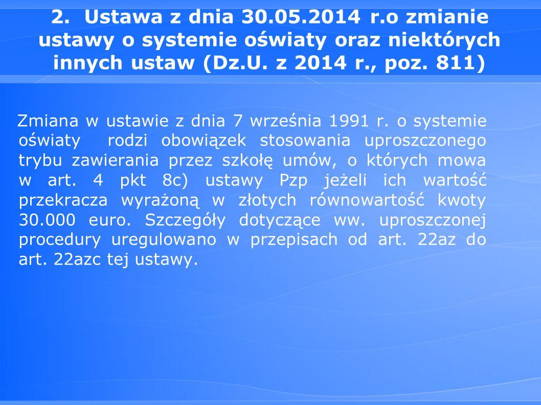 2. Ustawa z dnia 30.05.2014 r.o zmianie ustawy o systemie oświaty oraz niektórych innych ustaw (Dz.U. z 2014 r., poz. 811)