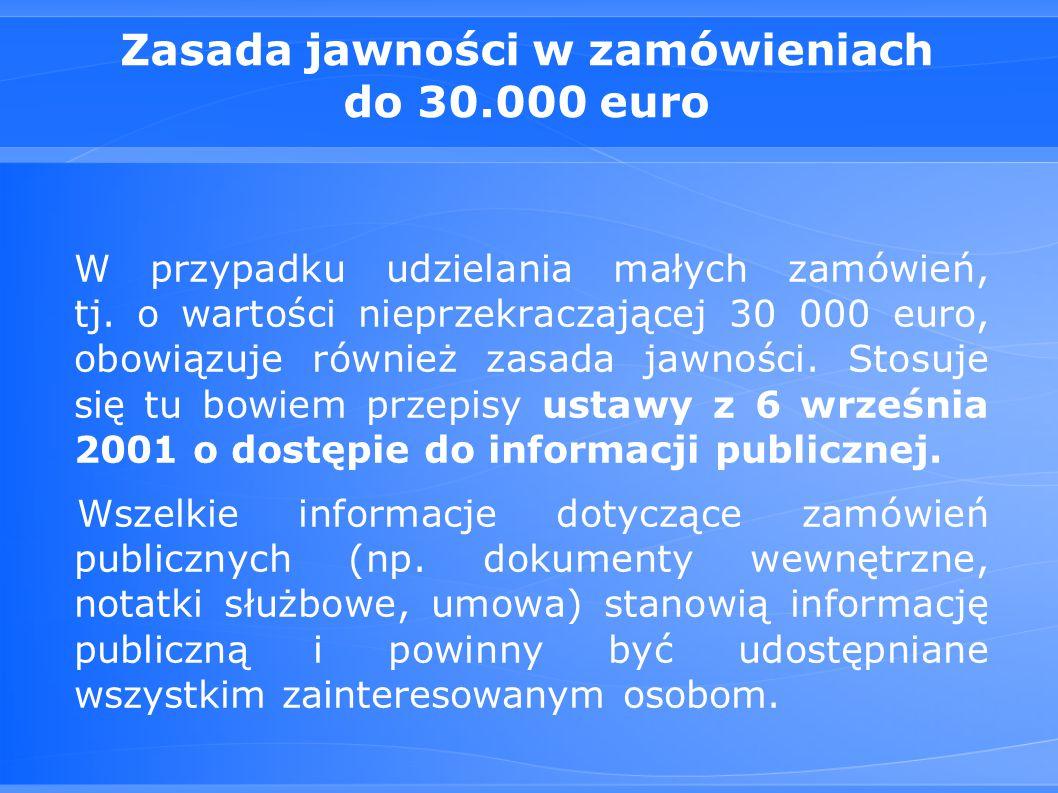 Zasada jawności w zamówieniach do 30.000 euro