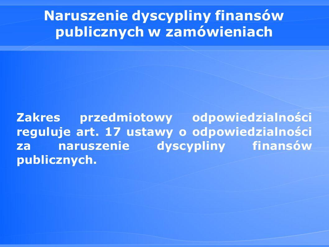 Naruszenie dyscypliny finansów publicznych w zamówieniach
