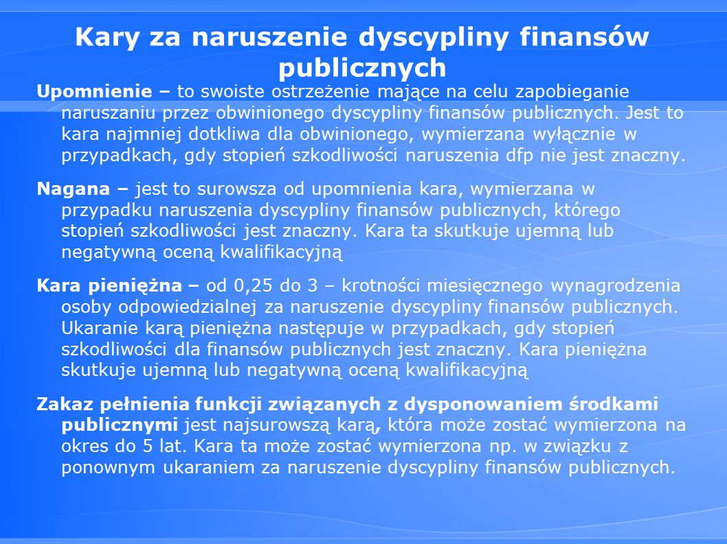 Kary za naruszenie dyscypliny finansów publicznych