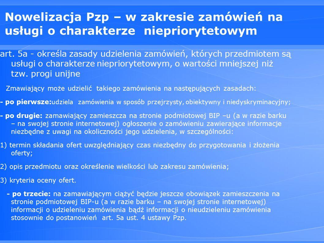 Nowelizacja Pzp – w zakresie zamówień na usługi o charakterze niepriorytetowym