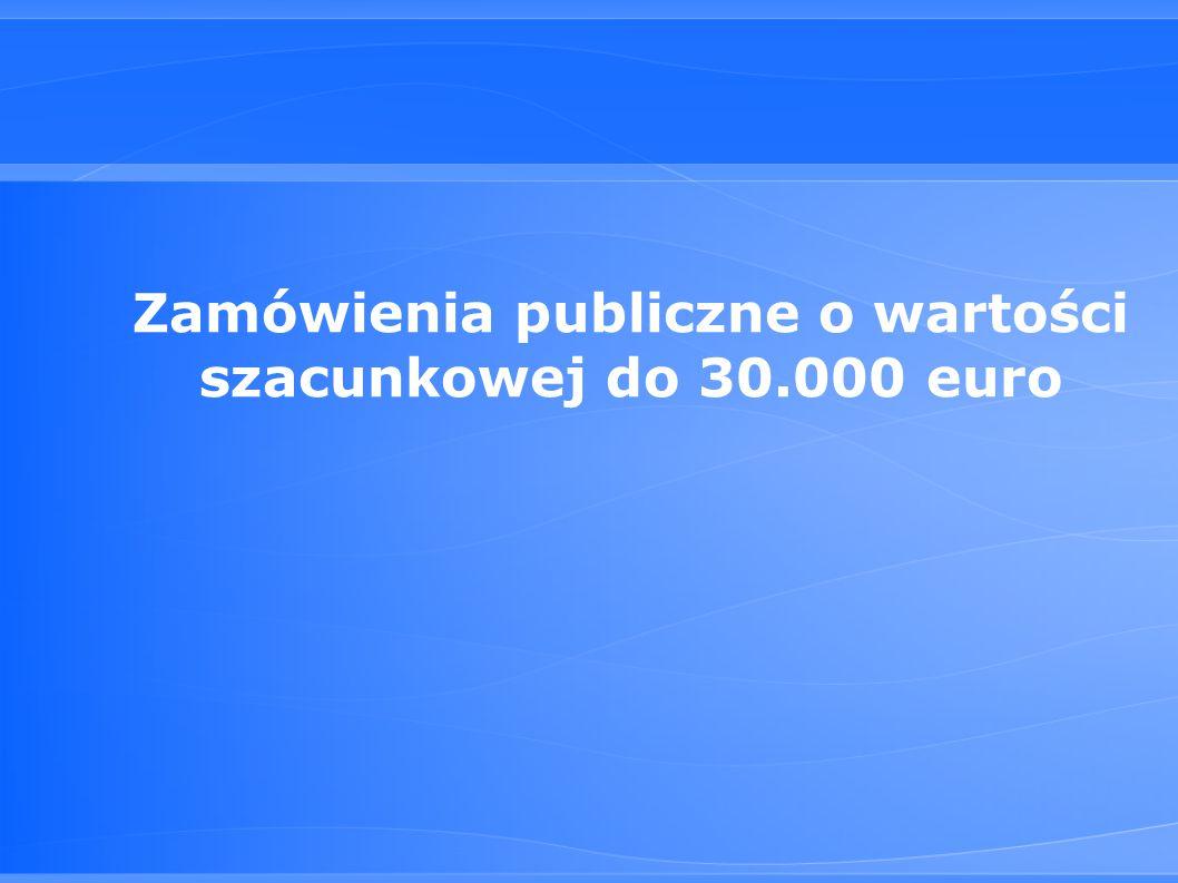 Zamówienia publiczne o wartości szacunkowej do 30.000 euro