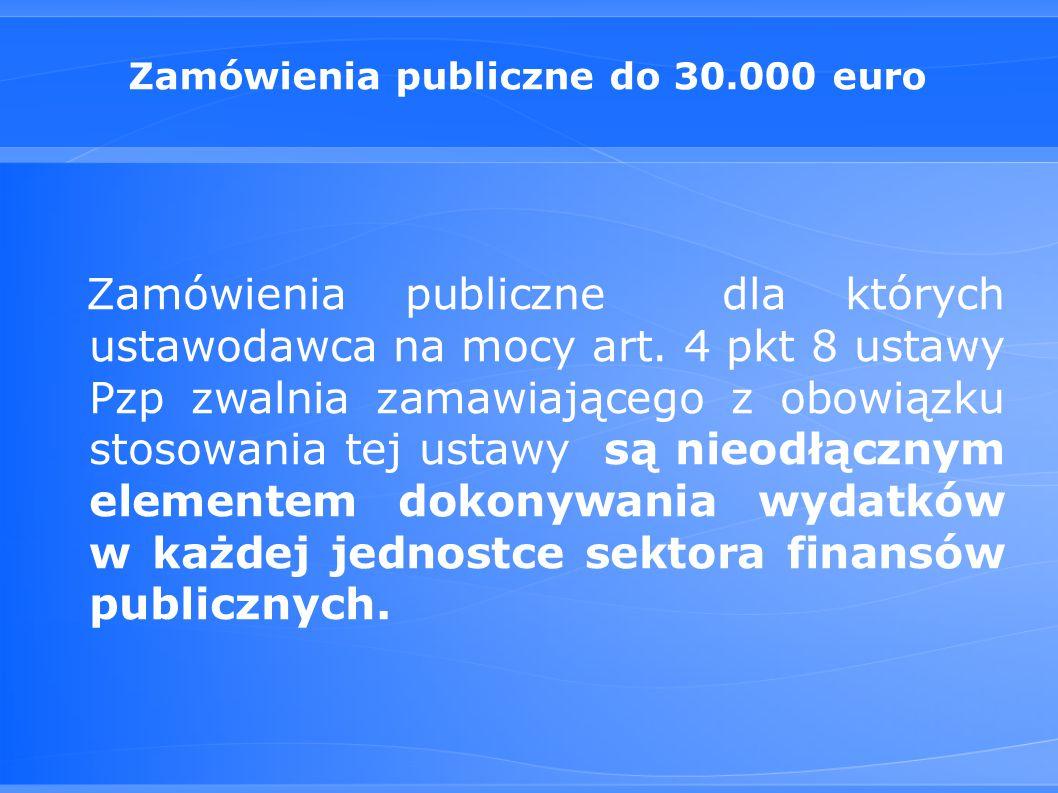 Zamówienia publiczne do 30.000 euro