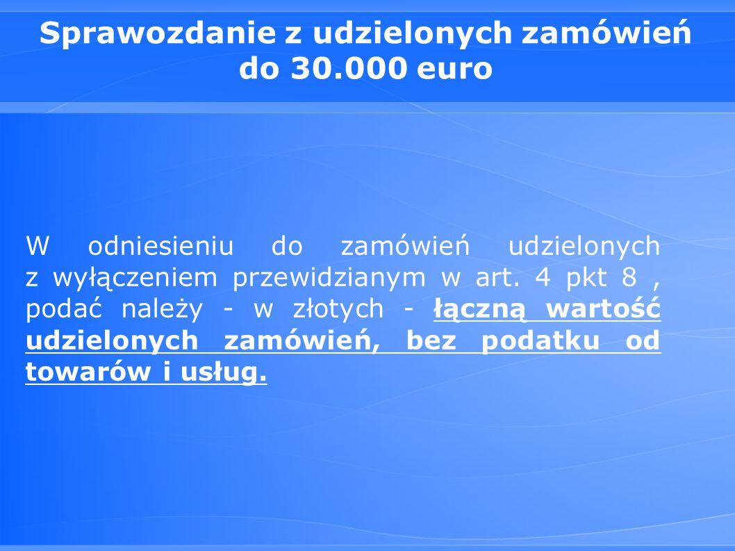 Sprawozdanie z udzielonych zamówień do 30.000 euro