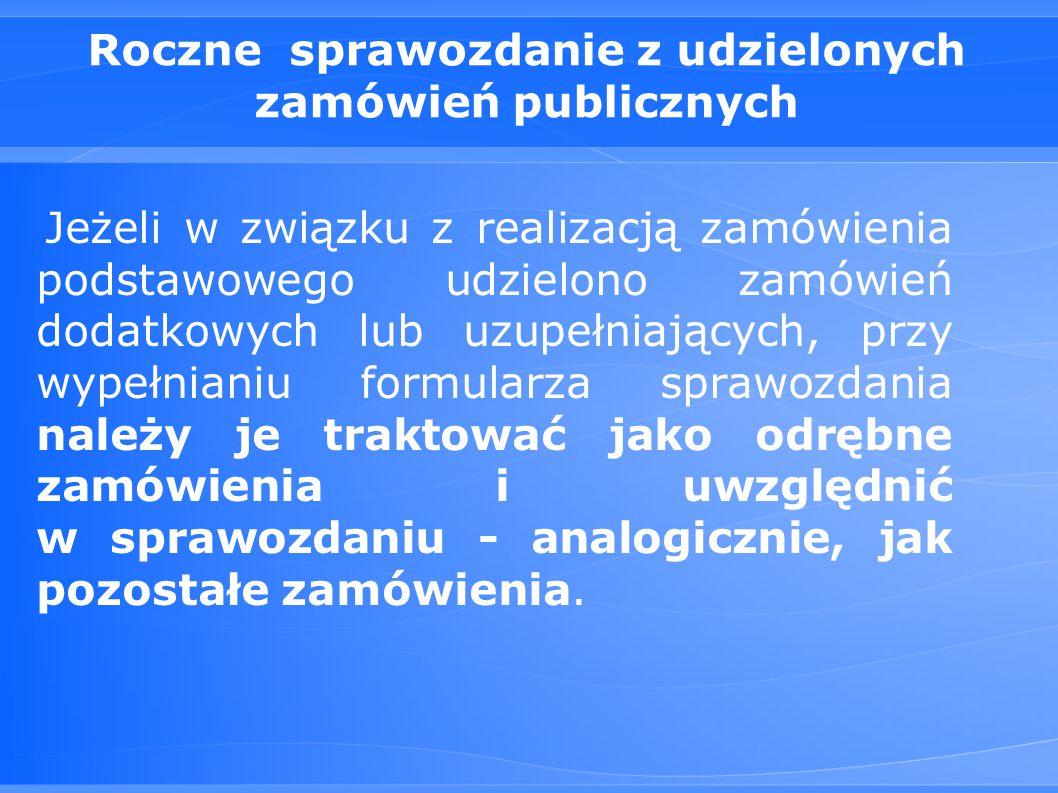 Roczne sprawozdanie z udzielonych zamówień publicznych