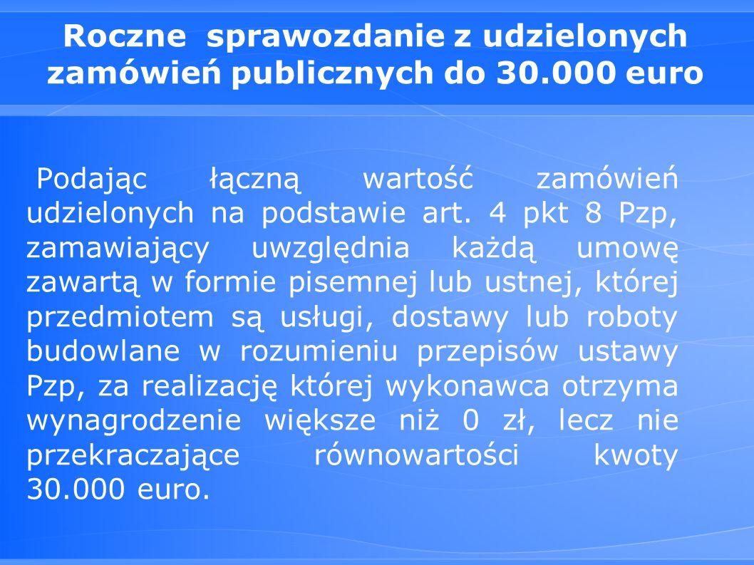 Roczne sprawozdanie z udzielonych zamówień publicznych do 30.000 euro