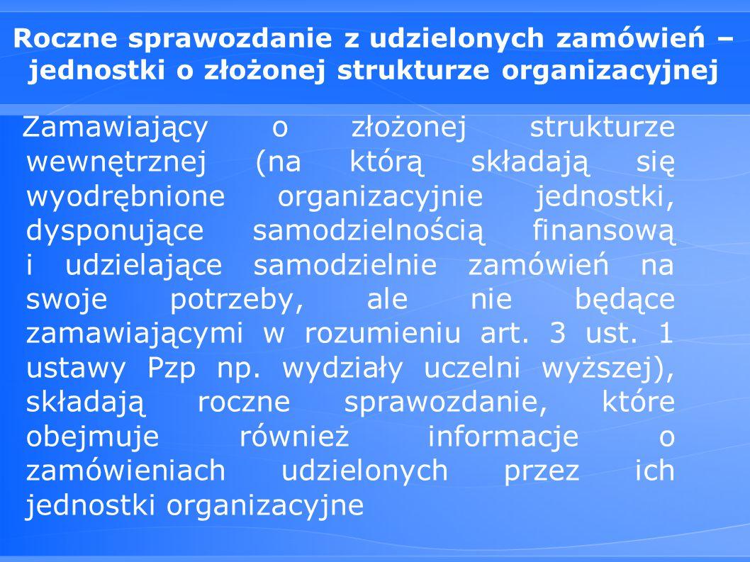Roczne sprawozdanie z udzielonych zamówień – jednostki o złożonej strukturze organizacyjnej