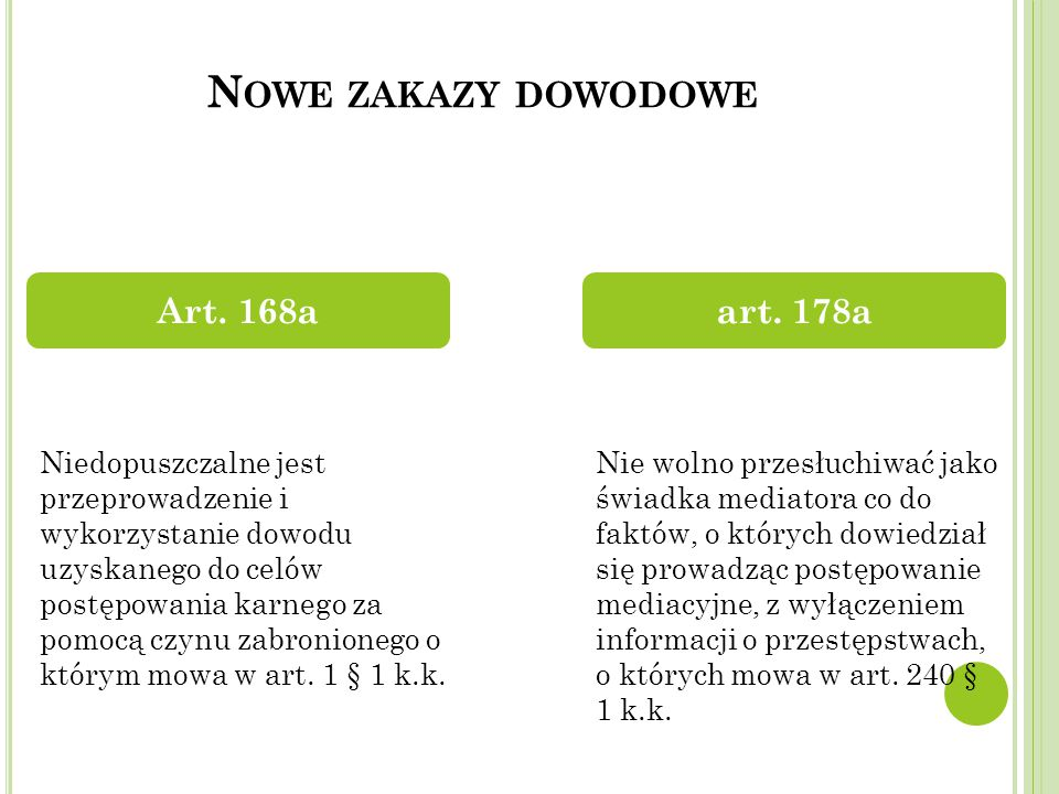 Nowe zakazy dowodowe Art. 168a art. 178a