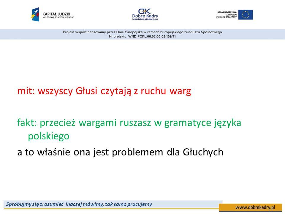 mit: wszyscy Głusi czytają z ruchu warg fakt: przecież wargami ruszasz w gramatyce języka polskiego a to właśnie ona jest problemem dla Głuchych