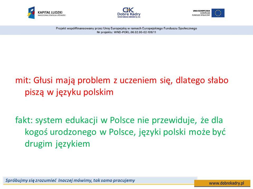 mit: Głusi mają problem z uczeniem się, dlatego słabo piszą w języku polskim fakt: system edukacji w Polsce nie przewiduje, że dla kogoś urodzonego w Polsce, języki polski może być drugim językiem