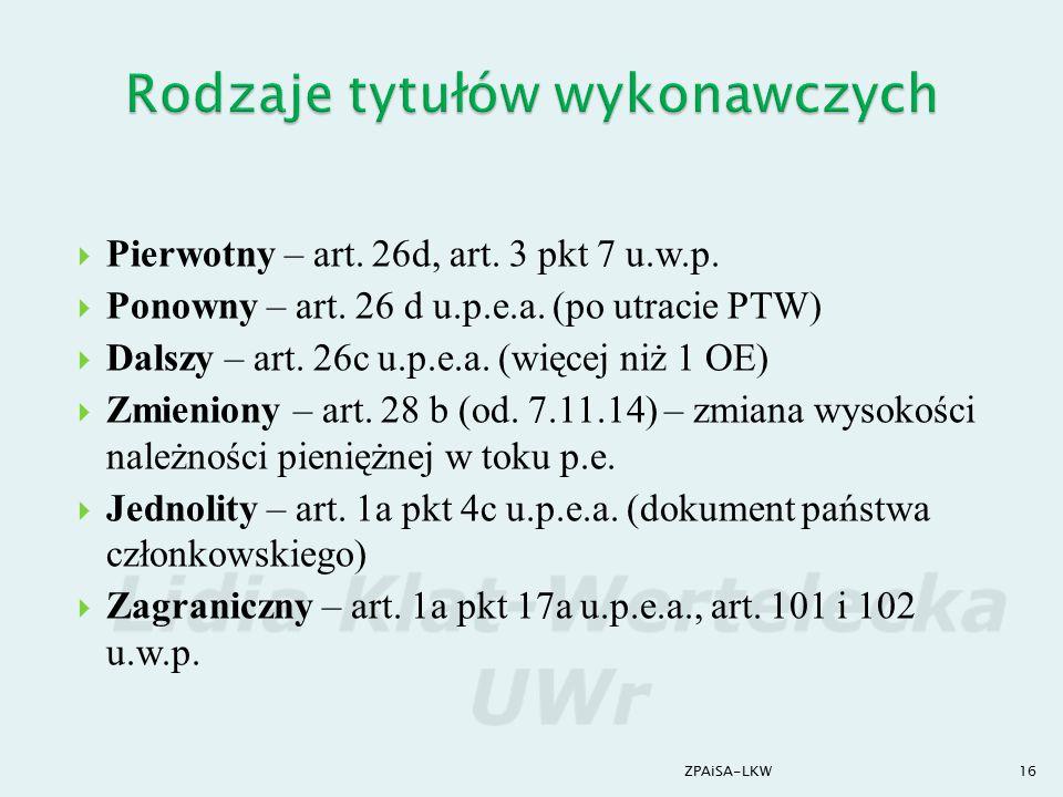 Rodzaje tytułów wykonawczych
