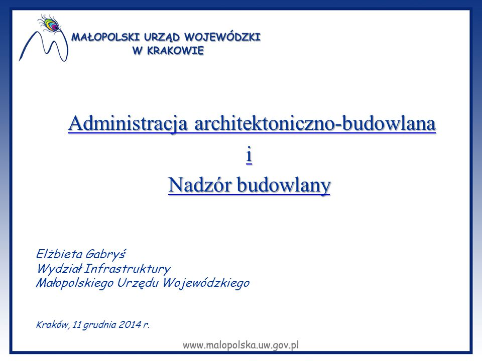 Administracja architektoniczno-budowlana i Nadzór budowlany