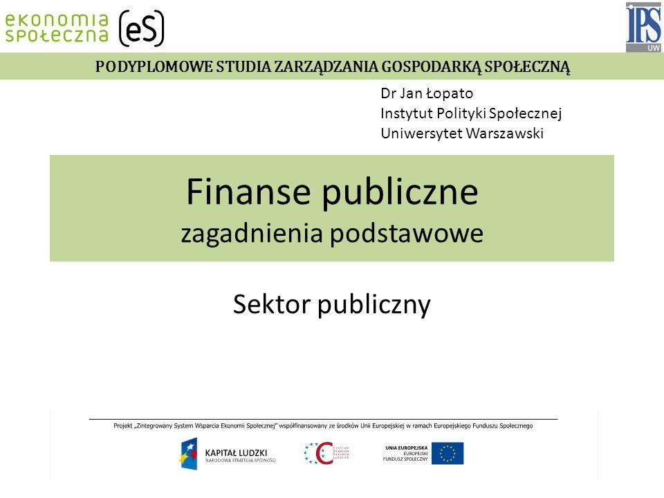 Finanse publiczne zagadnienia podstawowe