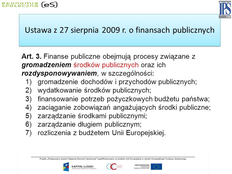 Ustawa z 27 sierpnia 2009 r. o finansach publicznych