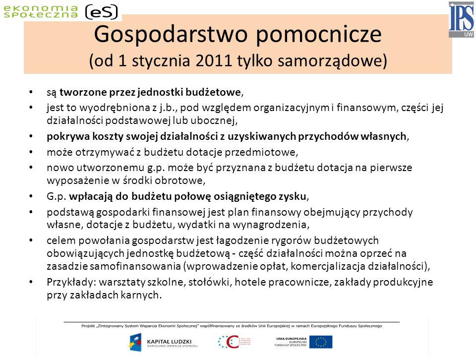 Gospodarstwo pomocnicze (od 1 stycznia 2011 tylko samorządowe)