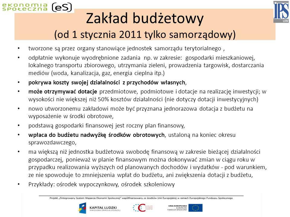 Zakład budżetowy (od 1 stycznia 2011 tylko samorządowy)