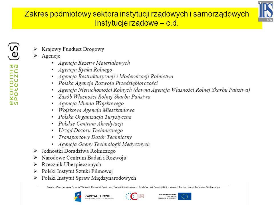 Zakres podmiotowy sektora instytucji rządowych i samorządowych