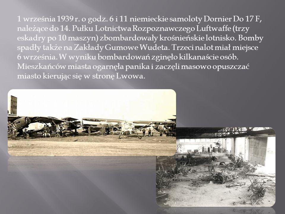 1 września 1939 r. o godz. 6 i 11 niemieckie samoloty Dornier Do 17 F, należące do 14.