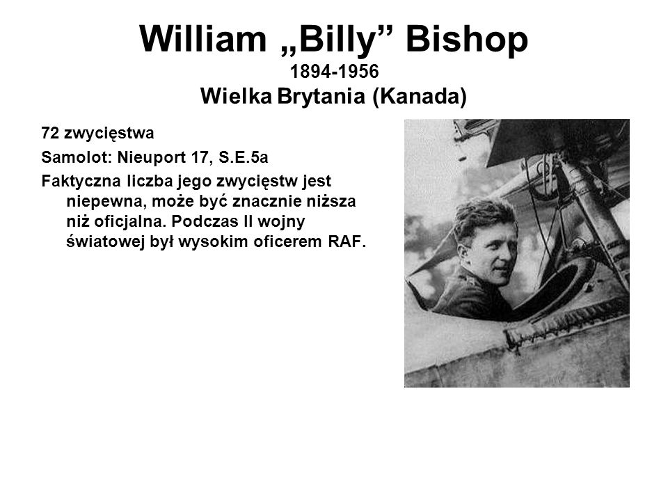 "William ""Billy Bishop 1894-1956 Wielka Brytania (Kanada)"