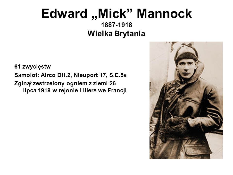 "Edward ""Mick Mannock 1887-1918 Wielka Brytania"